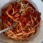 Vegan spaghetti and meat sauce