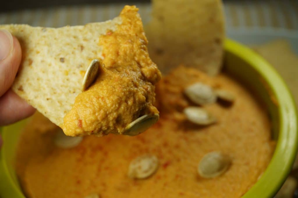 Roasted Red Pepper Hummus with Pumpkin