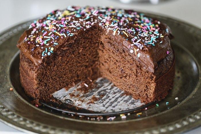 sliced open vegan chocolate cake