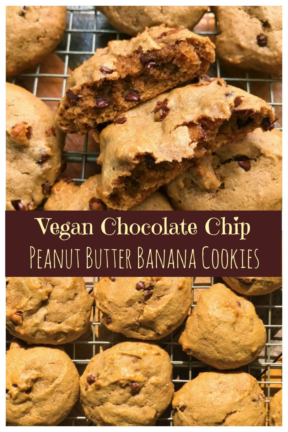 Vegan Chocolate Chip Cookies with Peanut Butter & Banana.
