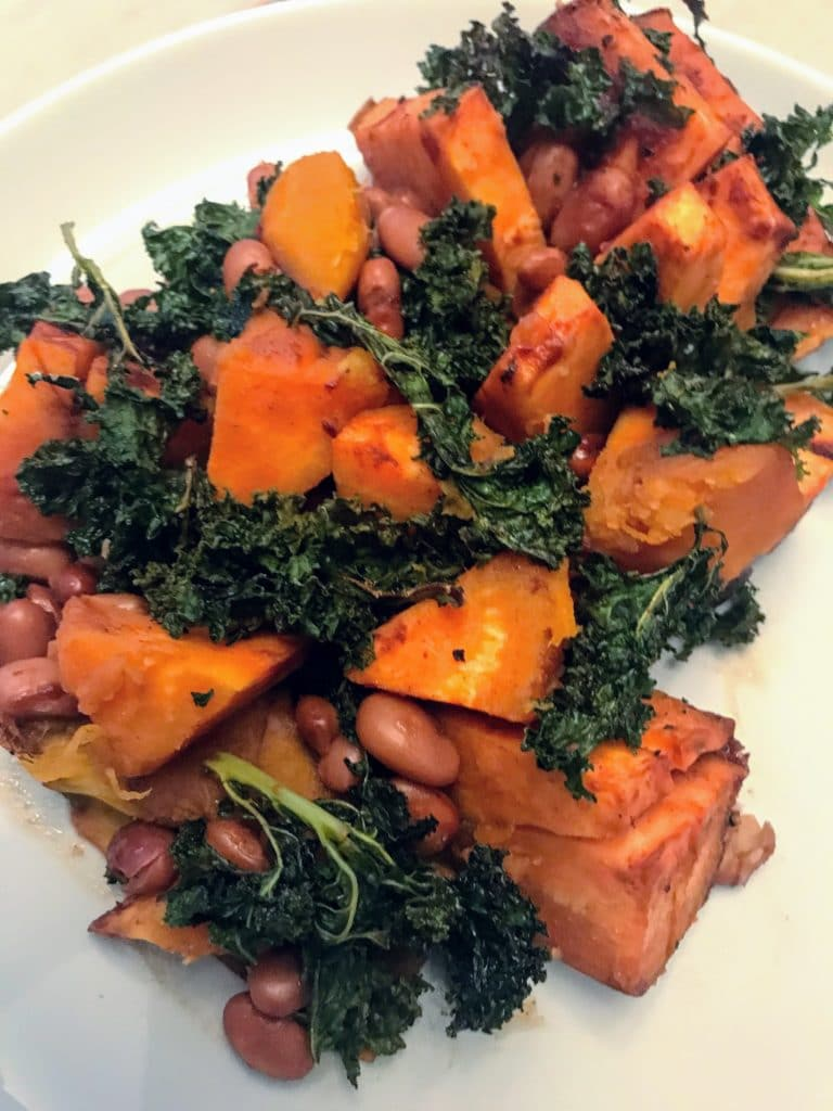 Baked Beans with Sweet Potatoes and Crispy Kale