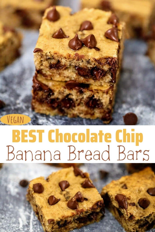 Best Chocolate Chip Vegan Banana Bread Bars for Pinterest