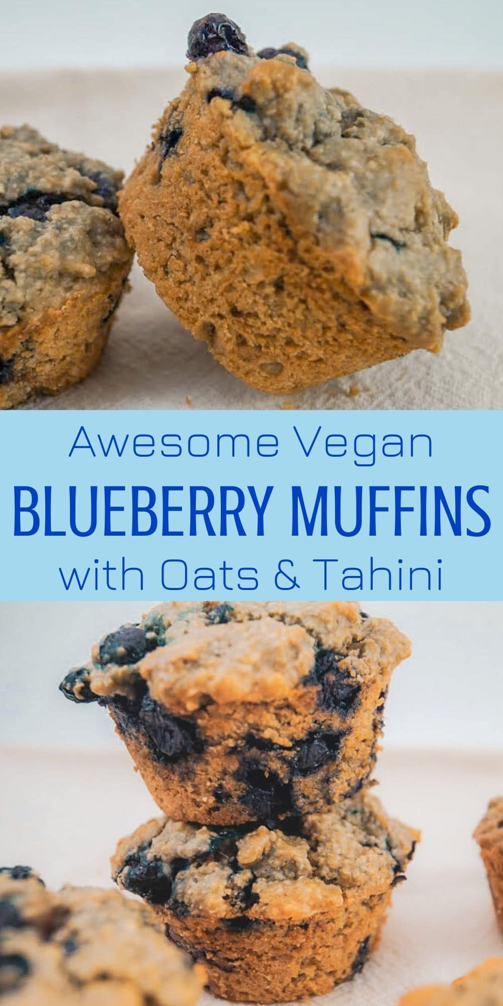 Awesome Vegan Blueberry Muffins with Oats & Tahini