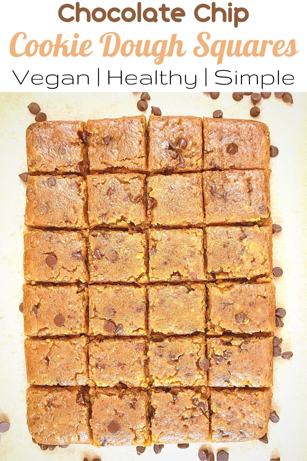 Chocolate Chip Vegan Healthy Cookie Dough Squares for Pinterest