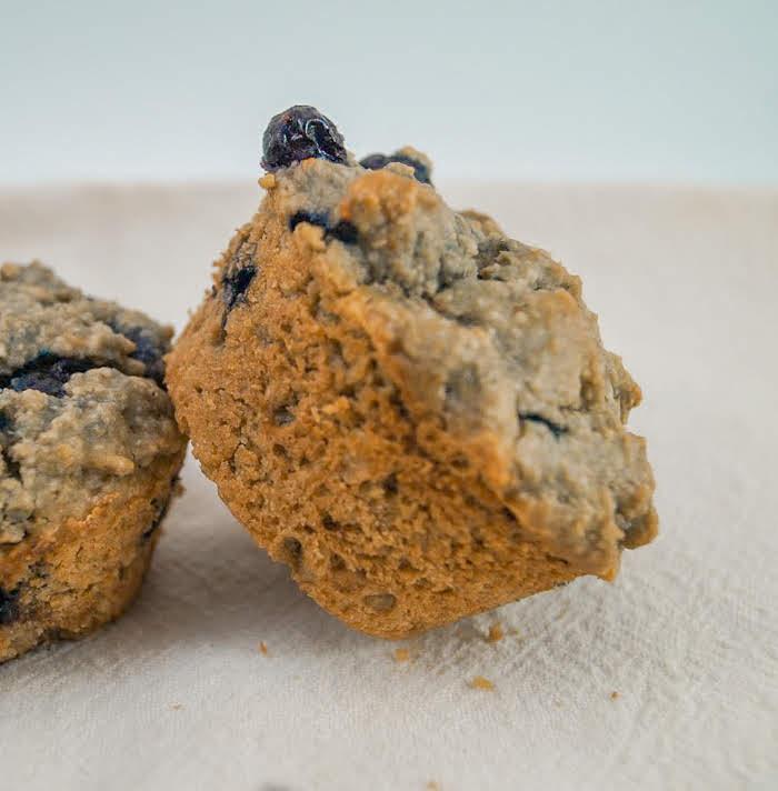 Vegan Blueberry Oat Tahini Muffins