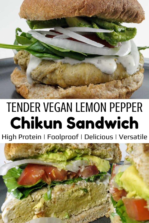 Vegan Lemon Chicken Sandwich for Pinterest