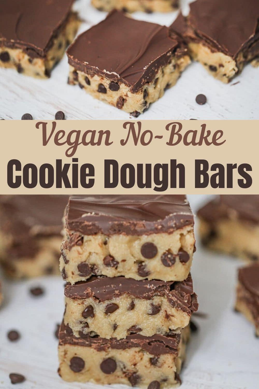 Vegan No Bake Cookie Dough Bars for Pinterest