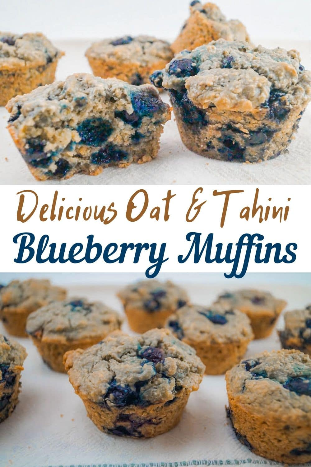 Delicious Oat & Tahini Blueberry Muffins