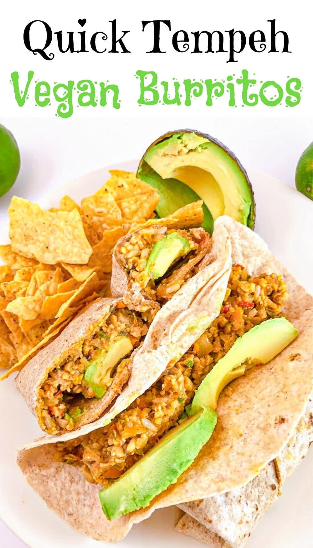 quick tempeh vegan burritos